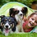 Девочка играет со своими собаками